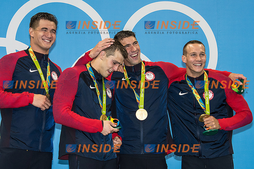 Team USA Adrian Nathan, Held Ryan, Phelps Michael, Dressel Caeleb <br /> 4x100 freestyle men<br /> Rio de JaneiroXXXI Olympic Games <br /> Olympic Aquatics Stadium <br /> Swimming finals 07/08/2016<br /> Photo Giorgio Scala/Deepbluemedia/Insidefoto