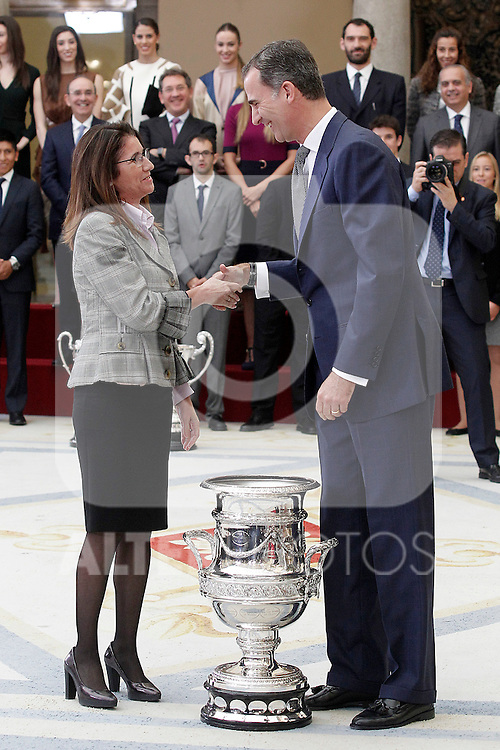King Felipe VI of Spain delivers Copa Stadium, the person or entity that has stood out for its special contribution during the year to advocacy and promotion of sport to Loterias y Apuestas del Estado. November 17, 2015. (ALTERPHOTOS/Acero)