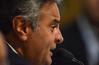 BRASÍLIA, DF, 21.02.2017 – SABATINA-SENADO – O senador Aécio Neves durante sabatina na CCJ do Senado, na tarde desta terça-feira, 21.  (Foto: Ricardo Botelho/Brazil Photo Press)