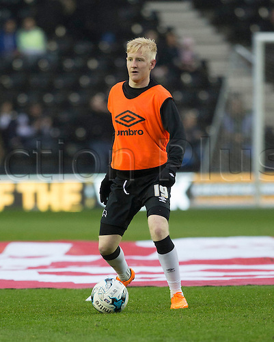 03.04.2015.  Derby, England. Skybet Championship. Derby versus Watford. Derby midfielder Will Hughes warms up before the match.