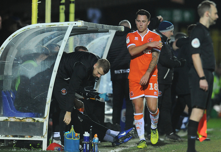 Blackpool's John O'Sullivan looks frustrated after being substituted<br /> <br /> Photographer Kevin Barnes/CameraSport<br /> <br /> The EFL Sky Bet League One - AFC Wimbledon v Blackpool - Saturday 29th December 2018 - Kingsmeadow Stadium - London<br /> <br /> World Copyright © 2018 CameraSport. All rights reserved. 43 Linden Ave. Countesthorpe. Leicester. England. LE8 5PG - Tel: +44 (0) 116 277 4147 - admin@camerasport.com - www.camerasport.com
