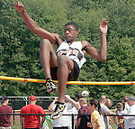 Stoughton HighÕs Steffan Jackson was in the High Jump at the 2011 All-State Outdoor Track meet on Saturday at Bridgewater State University..(Photo by Gary Wilcox).