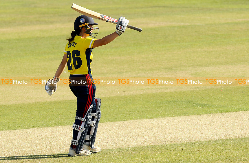 Alice Capsey of South East Stars celebrates scoring fifty runs  during Sunrisers vs South East Stars, Rachael Heyhoe Flint Trophy Cricket at The Cloudfm County Ground on 13th September 2020