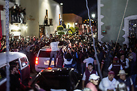 June 23, 2018: Andres Manuel Lopez Obrador, an opposition candidate of MORENA party running for presidency, during his campaign rally at the Zocalo square in Tlaxcala City, Mexico. National elections will be hold on July 1.