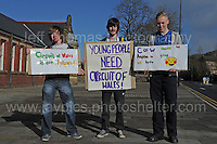 Supporters of the Circuit of Wales racing track that is proposed for Ebbw Vale, Blaenau Gwent. These are students who attend the Ebbw Vale college <br /> <br /> Jeff Thomas Photography -  www.jaypics.photoshelter.com - <br /> e-mail swansea1001@hotmail.co.uk -<br /> Mob: 07837 386244 -
