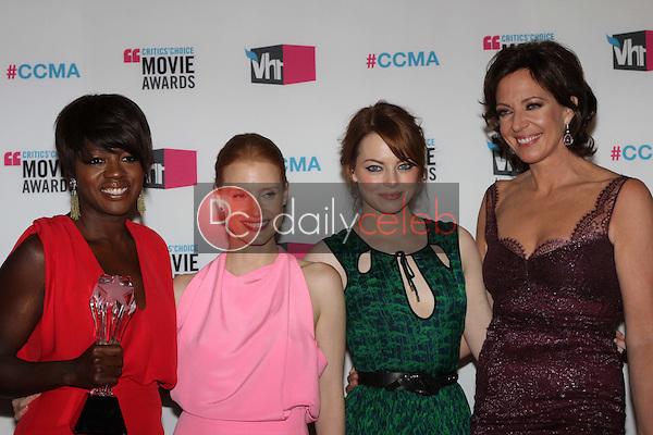 Viola Davis, Jessica Chastain, Emma Stone, Allison Janney<br /> at the 17th Annual Critics' Choice Movie Awards, Palladium, Hollywood, CA  01-12-12<br /> David Edwards/DailyCeleb.com 818-249-4998