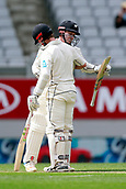 23rd March 2018, Eden Park, Auckland, New Zealand; International Test Cricket, New Zealand versus England, day 2;  Henry Nicholls congratulates Kane Williamson on his 18th test match century