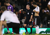 31st October 2017, Craven Cottage, London, England; EFL Championship football, Fulham versus Bristol City; Referee Scott Duncan shows a red card to Aboubakar Kamara of Fulham