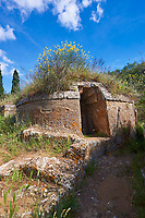 Etruscan circular Tumulus Tomb in one of the streets of the Necropoli della Banditaccia, Cerveteri, 6th century BC,  Italy. A UNESCO World Heritage Site