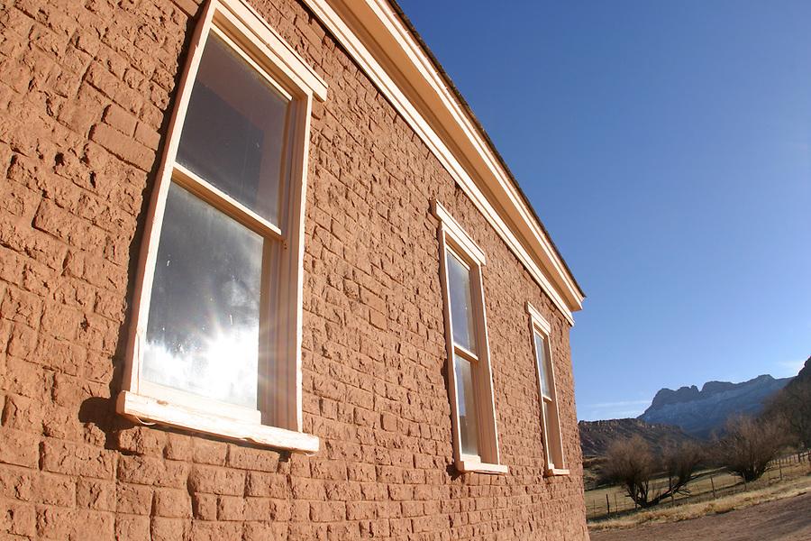 Abandoned church windows (circ 1886), Grafton (ghost town), Rockville, Washington County, UT