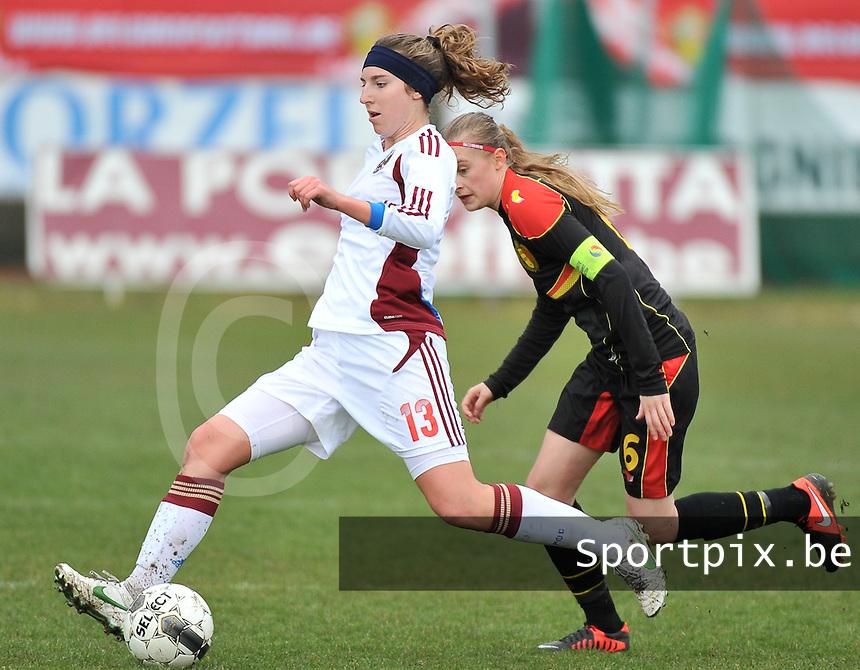 Russia U19 - Belgium U19 : Anastasia Shevchenko with the focus on the ball with behind her Julie Biesmans (6).foto DAVID CATRY / Nikonpro.be