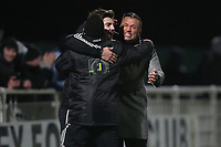 Romford manager Glenn Tamplin celebrates victory during Romford vs Brentwood Town, BetVictor League North Division Football at Parkside on 11th February 2020