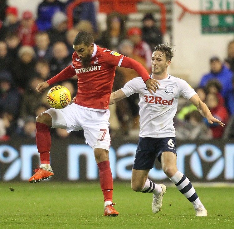 Preston North End's Ben Davies in action with Nottingham Forest's Lewis Grabban<br /> <br /> Photographer Mick Walker/CameraSport<br /> <br /> The EFL Sky Bet Championship - Nottingham Forest v Preston North End - Saturday 8th December 2018 - The City Ground - Nottingham<br /> <br /> World Copyright © 2018 CameraSport. All rights reserved. 43 Linden Ave. Countesthorpe. Leicester. England. LE8 5PG - Tel: +44 (0) 116 277 4147 - admin@camerasport.com - www.camerasport.com