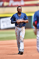 Mississippi Braves left fielder Travis Demeritte (18) during a game against the Tennessee Smokies at Smokies Stadium on May 20, 2018 in Kodak, Tennessee. The Braves defeated the Smokies 7-4. (Tony Farlow/Four Seam Images)