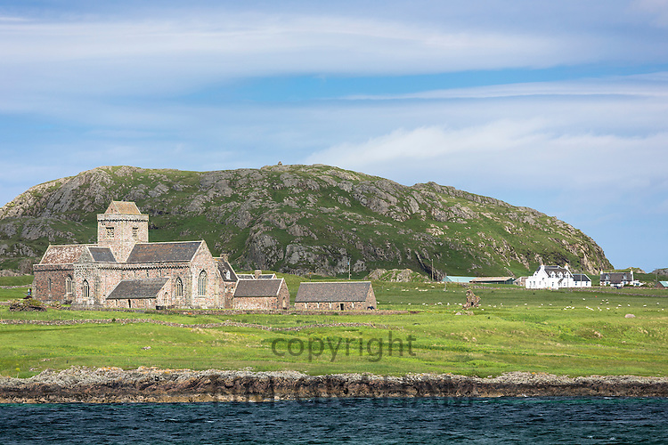 The ancient Iona Abbey on Isle of Iona in the Inner Hebrides and Western Isles, West Coast of Scotland