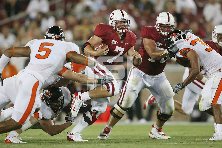 STANFORD, CA - AUGUST 28:  Toby Gerhart (7) of the Stanford Cardinal during Stanford's 36-28 win over the Oregon State Beavers on August 28, 2008 at Stanford Stadium in Stanford, California.