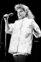 October 19 and 20, 1987 File Photo - Montreal (Qc) Canada - French singer Elli Medeiros promo tour in Montreal.<br /> <br /> Elli Medeiros (b. 18 January 1956 in Montevideo, Uruguay) is a singer and actress. Medeiros moved to Paris, France, at the age of 14, dropped out of high school a couple of years later and joined the punk band The Stinky Toys.<br /> <br /> The singer went solo in 1986. The songs Toi Mon Toit and A Bailar Calypso were big hits in France and had a more Latin sound than her previous records.