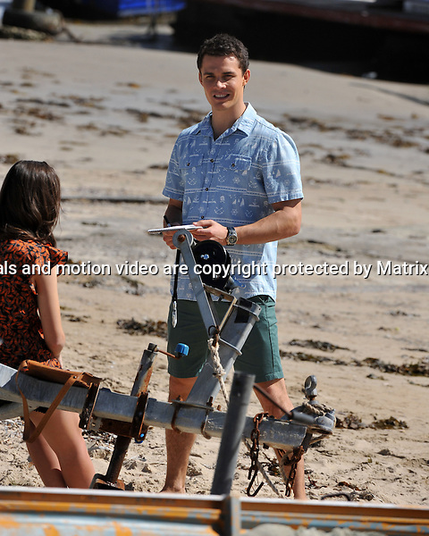 8th September, 2014 SYDNEY AUSTRALIA<br />  EXCLUSIVE <br /> Pictured,  Andrew Morley, Phillipa Northeast and Jackson Gallagher cast members of Home and Away doing scenes at the Pittwater location near Barrenjoey Boat Hire, Palm Beach, NSW. <br /> <br /> *No internet without clearance*.MUST CALL PRIOR TO USE +61 2 9211-1088. Matrix Media Group.Note: All editorial images subject to the following: For editorial use only. Additional clearance required for commercial, wireless, internet or promotional use.Images may not be altered or modified. Matrix Media Group makes no representations or warranties regarding names, trademarks or logos appearing in the images.