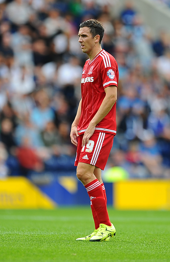 Middlesbrough's Stewart Downing in action during todays match  <br /> <br /> Photographer Craig Thomas/CameraSport<br /> <br /> Football - The Football League Sky Bet Championship - Preston North End v Middlesbrough -  Sunday 9th August 2015 - Deepdale - Preston<br /> <br /> &copy; CameraSport - 43 Linden Ave. Countesthorpe. Leicester. England. LE8 5PG - Tel: +44 (0) 116 277 4147 - admin@camerasport.com - www.camerasport.com