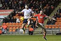 Danny Hylton of Luton Town challenges for the ball during the Sky Bet League 2 match between Blackpool and Luton Town at Bloomfield Road, Blackpool, England on 17 December 2016. Photo by Liam Smith.