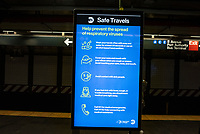 NEW YORK, NY - MARCH 19: Information about  to the COVID-19 pandemic is displayed at a subway train station in New York City on March 19, 2020. The ridership declined 90 percent compared to the same date last year due to the Coronavirus. The World Health Organization declared a global pandemic as the coronavirus rapidly spreads across the world. (Photo by Joana Toro/ VIEWpress via Getty Images)