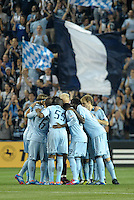 Sporting KC players before the start of the game..Sporting Kansas City defeated Philadelphia Union 2-1 at LIVESTRONG Sporting Park, Kansas City, KS.