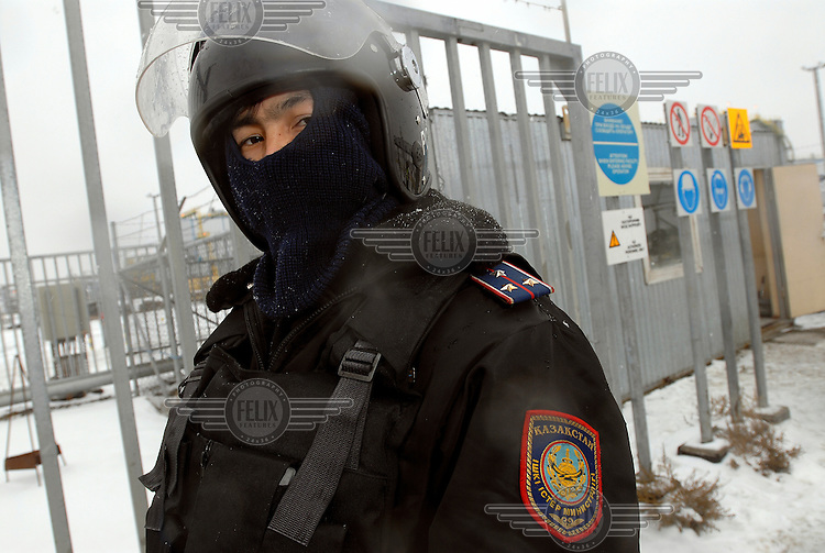 A Kazakh Special Forces Police Officer, part of a contingent guarding an American oil/gas production and refinery complex on the edge of the Caspian Sea.