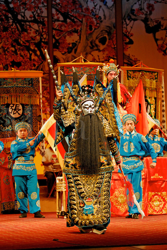 Zhang Fei, one of the Three Heroes fighting Lu Bu, a traditional Sichuan Opera story, based on the turbulent Three Kingdoms era of Chinese warlord history in the 3rd century.
