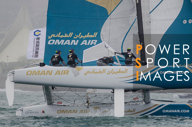 Competitors in action during Day 1of the Act 3 Extreme Sailing Series Qingdao 2015 at Qingdao International Sailing Centre during the  on May 1, 2015 in Qingdao, China. Photo by Xaume Olleros / Power Sport Images