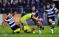 Michael van Vuuren of Bath Rugby takes on the Leicester Tigers defence. Anglo-Welsh Cup match, between Bath Rugby and Leicester Tigers on November 4, 2016 at the Recreation Ground in Bath, England. Photo by: Patrick Khachfe / Onside Images