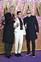 "Brian May, Rami Malek and Roger Taylor<br /> arriving for the ""Bohemian Rhapsody"" World premiere at Wembley Arena, London<br /> <br /> ©Ash Knotek  D3455  23/10/2018"