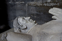 Gisant of Guillaume du Chastel (death 1441), Pantler to the king Charles VII who commissionned his statue, stone and marble (face), Abbey church of Saint Denis, Seine Saint Denis, France. Picture by Manuel Cohen