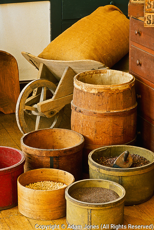 Grain containers, Shaker Village at Pleasant Hill, Kentucky