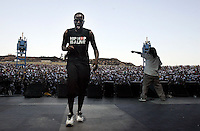 LOS ANGELES,CA - AUGUST 09,2008: As the sun sets over San Bernardino, The Pharcyde, performs during Rock the Bells concert. Glen Helen Pavilion was filled with hip hop fans August 9, 2008 for Rock the Bells concert.