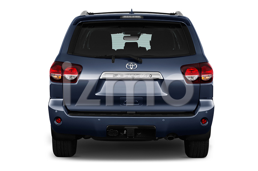 Straight rear view of a 2018 Toyota sequoia trd sport 5 Door SUV stock images