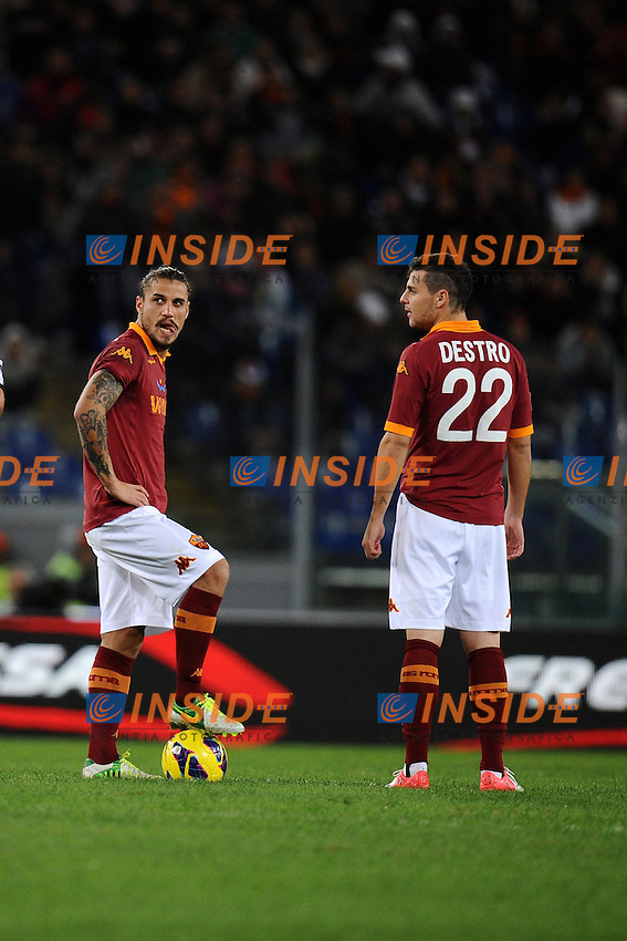 Daniel Pablo Osvaldo (Roma) e Mattia Destro..28/10/2012 Roma, Stadio Olimpico.Campionato di calcio Serie A 2012/2013.Roma vs Udinese.Foto Antonietta Baldassarre Insidefoto