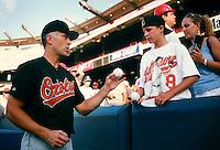 Cal Ripken,jr. of the Baltimore Orioles during a game at Anaheim Stadium in Anaheim, California during the 1997 season.(Larry Goren/Four Seam Images)