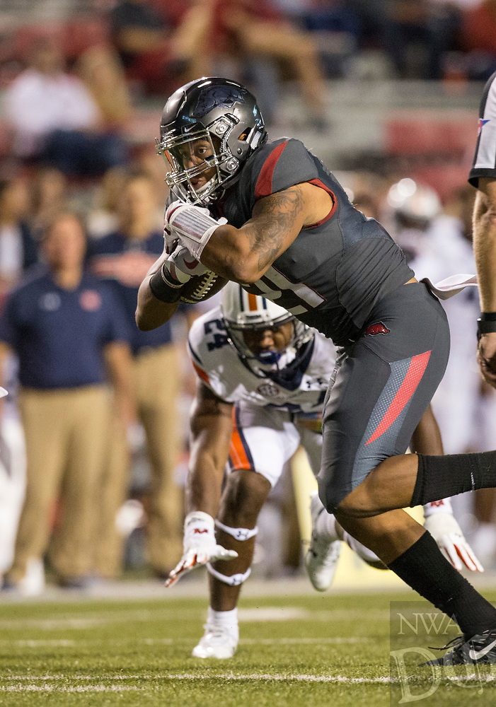 Hawgs Illustrated/BEN GOFF <br /> Devwah Whaley, Arkansas running back, carries in the fourth quarter against Auburn Saturday, Oct. 21, 2017, at Reynolds Razorbacks Stadium in Fayetteville.