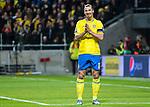 Solna 2015-11-14 Fotboll EM-kval , Sverige - Danmark :  <br /> Sveriges Zlatan Ibrahimovic reagerar efter att ett m&aring;l blivit avbl&aring;st f&ouml;r offside under matchen mellan Sverige och Danmark <br /> (Photo: Kenta J&ouml;nsson) Keywords:  Sweden Sverige Solna Stockholm Friends Arena EM Kval EM-kval UEFA Euro European 2016 Qualifying Qualifier Playoff Denmark Danmark portr&auml;tt portrait