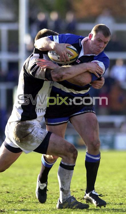 Pix: Simon Wilkinson/SWpix.com. Rugby Union. Powergrn Cup 2003-2004. Leeds Tykes v Bath. 28/02/2004...COPYRIGHT PICTURE>>SIMON WILKINSON>>0870 092 0092>>..Bath's Mike Tindall crashes through