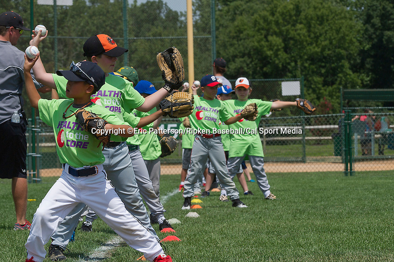 August 16, 2014: Field of Dreams and Kid Clinic during the Cal Ripken 12u 70-foot World Series World Championship at the Ripken Experience powered by Under Armour in Aberdeen, Maryland on August 16, 2014. Eric Patterson/Ripken Baseball/CSM