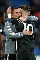 3rd November 2019; Selhurst Park, London, England; English Premier League Football, Crystal Palace versus Leicester City; Leicester City Manager Brendan Rogers celebrates the 0-2 win with James Maddison - Strictly Editorial Use Only. No use with unauthorized audio, video, data, fixture lists, club/league logos or 'live' services. Online in-match use limited to 120 images, no video emulation. No use in betting, games or single club/league/player publications