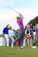 Peter Uihlein (USA) on the 4th tee during Round 2 of the KLM Open at Kennemer Golf &amp; Country Club on Friday 12th September 2014.<br /> Picture:  Thos Caffrey / www.golffile.ie