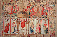 Detail of the tapestry of the Triumph of Mars, from cartoons by Noel Coypel, 1628-1707, in the bedroom of Anne of Austria, 1601-66, wife of King Louis XIII, Chateau de Fontainebleau, France. The Palace of Fontainebleau is one of the largest French royal palaces and was begun in the early 16th century for Francois I. It was listed as a UNESCO World Heritage Site in 1981. Picture by Manuel Cohen