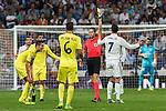 Villarreal's Bruno Soriano Victor Ruiz and Real Madrid's Cristiano Ronaldo during the match of La Liga between Real Madrid  and Villarreal Club de Futbol at Santiago Bernabeu Estadium in Madrid. September 21, 2016. (ALTERPHOTOS/Rodrigo Jimenez)