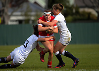 Karen Paquin is tackled during the 2017 International Women's Rugby Series rugby match between England Roses and Canada at Rugby Park in Christchurch, New Zealand on Tuesday, 13 June 2017. Photo: Dave Lintott / lintottphoto.co.nz