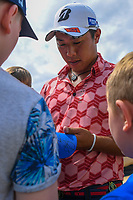 Won Joon Lee (AUS) signs autographs for fans during the preview of the the 148th Open Championship, Royal Portrush golf club, Portrush, Antrim, Northern Ireland. 7/16/2019.<br /> Picture Ken Murray / Golffile.ie<br /> <br /> All photo usage must carry mandatory copyright credit (© Golffile | Ken Murray)