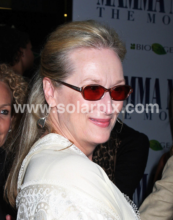 **ALL ROUND PICTURES FROM SOLARPIX.COM**.**SYNDICATION RIGHTS FOR UK, SPAIN, PORTUGAL, AUSTRALIA, S.AFRICA & DUBAI (U.A.E) ONLY**.The James Bond star Pierce Brosnan and Meryl Streep attended the Mamma Mia! World Premiere at the  Ziegfeld Theatre on 54th Street in New York in the  USA. .This pic:Meryl Streep..JOB REF:6858-PHZ/Janet Mayer    DATE:16_07_08 .**MUST CREDIT SOLARPIX.COM OR DOUBLE FEE WILL BE CHARGED* *UNDER NO CIRCUMSTANCES IS THIS IMAGE TO BE REPRODUCED FOR ANY ONLINE EDITION WITHOUT PRIOR PERMISSION*
