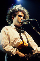 Montreal (Qc) CANADA - File Photo - Circa 1986-<br /> Robert Smith, Lead singer of THE CURE in concert at Montreal's Forum.<br /> -Photo (c)  Images Distribution