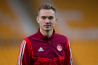 24th November 2019; McDairmid Park, Perth, Perth and Kinross, Scotland; Scottish Premiership Football, St Johnstone versus Aberdeen; Ryan Hedges of Aberdeen inspects the pitch before the match - Editorial Use